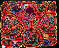 """Molas are beautiful applique and embroidery """"paintings"""" traditionally made by women of the Kuna; an indigenous people of Panama and Colombia."""