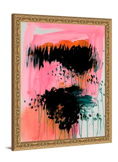 Pink abstract art - Twilight Lake abstract canvas by Lindsay Letters.