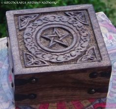 Witchcrafts Artisan Alchemy - Celtic Pentagram Wooden Altar Box, $19.95 (http://www.witchcraftsartisanalchemy.com/celtic-pentagram-wooden-altar-box/)
