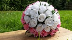 White Pink Bridal Bouquet Wedding Paper Flowers by moniaflowers