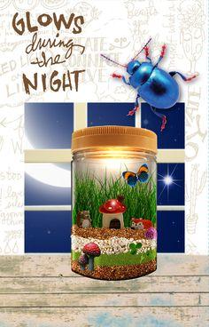 Advertising Words, Terrarium Jar, Decorative Stickers, 10 Year Old Boy, Mushroom House, River Rocks, Jar Lights, Craft Corner