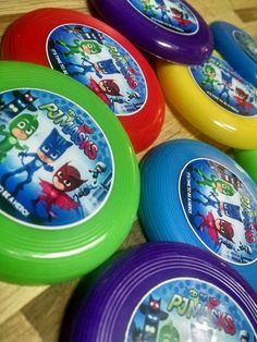 12 PJ MASKS mini frisbees birthday party favors, treat bag loot, prize goodie #kidsparty
