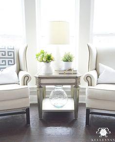 Kelley Nan (@kelleynan) • Instagram - Pottery Barn Upholstered Thatcher Wingback Chairs   ZGallerie Palais Side Table KELLEYNAN.com
