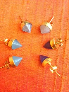 Stud Cone Earrings in Aqua Chalcedony, Rainbow Moonstone and Blue Chalcedony by SHANTTI JEWELRY