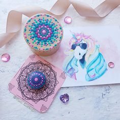 "Gift set of gratitude mandala stone and decorated box ""Unicorn tribe"" By mandala Fairy Yana Kaechka #unicorn #mandalastones #mandalastein #gratitudestone #mandala #fairygarden #pitturadipietra"