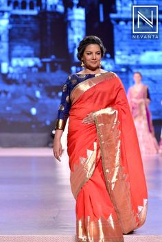 #ShabanaAzmi wore a striking #red sari with a blue boat neck blouse by #ManishMalhotra