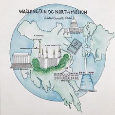 Watercolor of Washington DC mission @every_hue instagram
