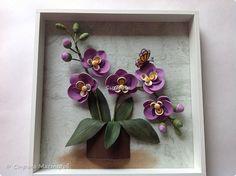 Картина панно рисунок День рождения Квиллинг Орхидея Бумага Бумажные полосы фото 2