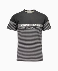b182a181c3 Stone Island - Marina Grad Stripe Logo short Sleeve Tee - Grey/Black - New