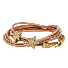 Starfish Double Wrap Leather Bracelet
