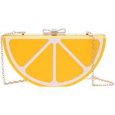 Posh Girl Lemon  Drop Acrylic Clutch ($78) ❤ liked on Polyvore featuring bags, handbags, clutches, multi, lucite handbag, chain handle handbags, chain strap purse, yellow handbag and yellow purse