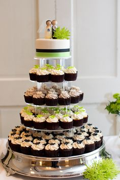Apple Green & Black...cupcake tower  by The Couture Cakery  www.couturecakery.net    Photo by Let's Be Candid. Sean Shannon. http://www.letsbecandid.com/