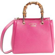 Gucci Fuchsia Leather Mini Bamboo Top Handle Bag (386504201)