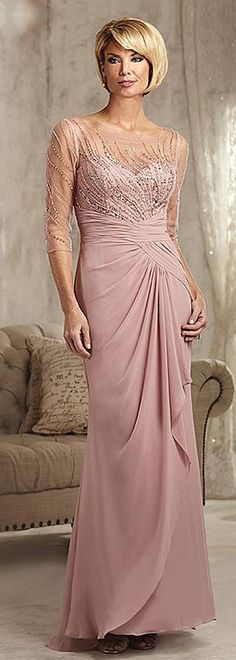 Exquisite Tulle & Chiffon Scoop Neckline Sheath Mother Of The Bride Dresses With Beadings Mother Of The Bride Dresses Long, Mother Of Bride Outfits, Mothers Dresses, Wedding Dress Shopping, Wedding Dresses, Mob Dresses, Chiffon Dresses, Sheath Dresses, Pageant Dresses
