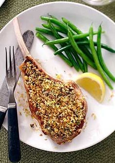 Lemon Caper Veal Chops- Lemon scented Ontario veal chops are served up with a slightly crisp garlic breadcrumb topping for a unique twist to grilled veal. Serve them alongside a delicious linguine or a serving of your favourite garlic mashed potatoes. Veal Chop, Veal Recipes, Wine Recipes, I Love Food, Good Food, Veal Cutlet, Chopped Steak, My Favorite Food