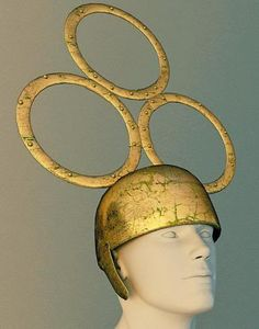 Tintignac helmet found with the Swan Helmet near Gallic shrine by archeologists in France in 2004. They date to the 3rd-4th century bc.  Photo from Le Monde