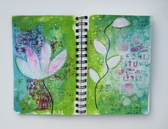 I've been playing around in some journals trying to learn new techniques.  I love the colors Donna Downey uses in her art along with the free style way she paints flowers and vines.  For these page...