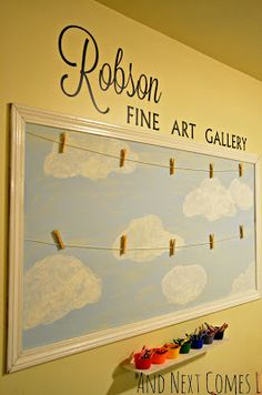 Create a fun childrens fine art gallery in your playroom to display your childrens artwork from And Next Comes L - Kids Room Ideas Organisation Hacks, Kids Room Organization, Playroom Ideas, Playroom Design, Artwork Display, Hanging Kids Artwork, Displaying Childrens Artwork, Childrens Art Display, Display Wall