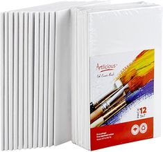 Amazon.com: Artlicious Canvas Panels 12 Pack - 5 inch x 7 inch Super Value Pack- Artist Canvas Boards for Painting Phoenix Painting, Long Painting, Painting Canvas, Yarn Painting, Diamond Paint, White Acrylic Paint, How To Make Paint, Homemade Christmas Gifts, Canvas Board