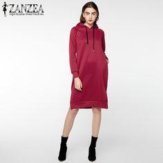 aa148a5919d US 15.12 - 26.69 Plus Size 2018 ZANZEA Winter Women Hooded Long Sleeve Long  Sweatshirt Dress