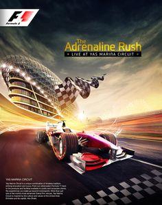 Formule 1 van Icon Advertising & Design FZ LLC, via Behance - bilder dekoration Ads Creative, Creative Posters, Creative Advertising, Car Advertising, Advertising Design, Cgi, F1 Posters, Gp F1, Photoshop