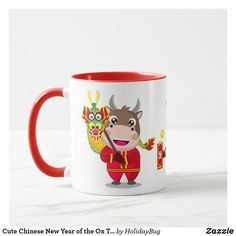 Cute Chinese New Year of the Ox Trio Mug Chinese Holidays, All Holidays, Chinese New Year, Christmas Card Holders, Christmas Cards, Mid Autumn Festival, Ox, Hand Sanitizer, Keep It Cleaner