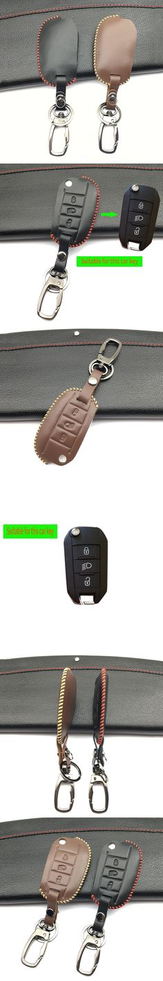 For Peugeot 3008 208 308 508 408 2008 RCZ 407 307 4008 remote keyless flip protecte Key fob Leather case cover skin shell cover