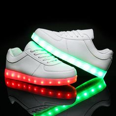 LED Shoes Women's White Low Top