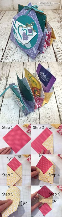 LovenStamps: A Nice Cuppa – Video Tutorial for 6 pocket treats and tea bag holder – Mini Gift Idea for Stamps in the Mail Club with Meg (all supplies Stampin Up!) – get your kit at LovenStamps LovenStamps: A Nice Cuppa – V Envelopes, Stampin Up, Paper Crafts, Diy Crafts, Tea Gifts, Card Tutorials, Folded Cards, Gift Bags, Treat Bags