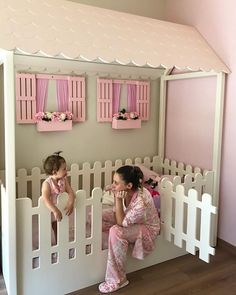 What an adorable toddler bed with window boxes and flowers too - Kinderzimmer - Diy Toddler Bed, Toddler Rooms, Toddler Beds For Girls, Baby Room Decor, Nursery Room, Toddler Furniture, Kid Furniture, Rustic Furniture, Bedroom Furniture
