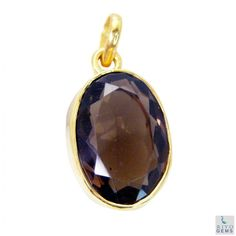 Riyo Selective Smoky Quartz 18kt Gold Plated Copper Brown Pendant Gppsqu-76024