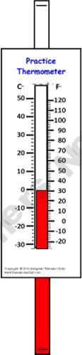 Use these handy, little individual thermometers to teach your students how to use the real thing.  Run them off on cover stock, laminate, and assemble them, and you'll have a neat little tool to use with the whole class, in small groups, with partners, or at centers.  Dictate a temperature, and the students can set it on their thermometer, and then hold it up for immediate correction.  They may also be used to compare Celsius with Fahrenheit settings