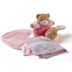 Perfekt gave idé til lille ny pige - gavesæt fra Kaloo med sutteklud, bamse og hagesmæk