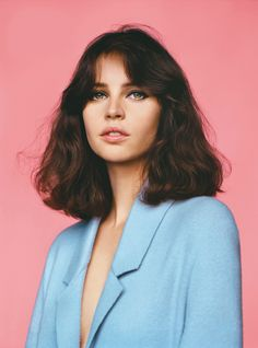 Felicity Jones - Vogue UK - February 2014 (Blue on pink)