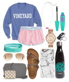 """""""One step at a time """" by jadenriley21 on Polyvore featuring S'well, Casetify, Southern Tide, Birkenstock, Ray-Ban, Michael Kors, Kendra Scott, Louis Vuitton, Mercedes-Benz and Maybelline"""