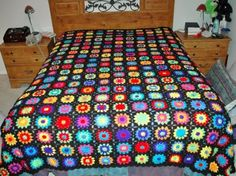 Neon Rainbow crocheted granny square afgan
