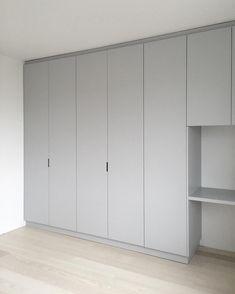 Office Table custommade wardrobe, grey, built in desk Wardrobe Doors, Bedroom Wardrobe, Wardrobe Closet, Built In Wardrobe, Closet Doors, Kids Wardrobe, Bedroom Closet Design, Wardrobe Design, Bedroom Cupboards