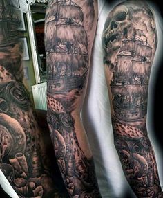 54 Best Pirate Tattoo Sleeve Images Traditional Tattoos Awesome