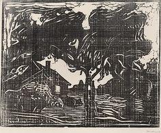 Edvard Munch, epletreet, woodcut
