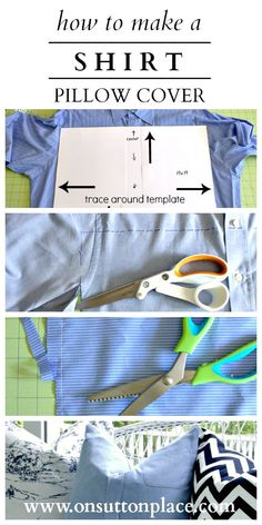 Step by step instructions to repurpose a men's shirt into a button pillow cover.