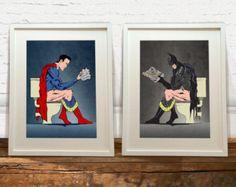 Batman and Superhero On the Toilet Art Prints