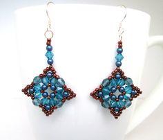 Denim blue and bronze swarovski elements earrings, montana blue jewelry, pearl beaded earrings, indocolite statement earrrings, ER001