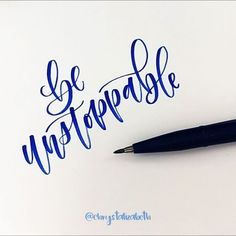 Be unstoppable Real Time Day 31 of with & Me . Hand Lettering 101, Brush Lettering Quotes, Doodle Lettering, Creative Lettering, Lettering Ideas, Calligraphy Words, How To Write Calligraphy, Calligraphy Handwriting, Beautiful Calligraphy