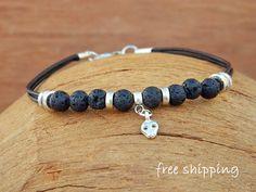Bracelet  for men,Unisex bracelet,Lava bracelet,Skull bracelet,Gemstone bracelet,Yoga bracelet,Leather bracelet,Energy bracelet,