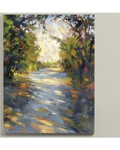 Fine art giclee reproduction on canvas stretched over wood frame. Hand applied acrylic finish produces the texture of the original. The eyes are automatically drawn to the sun-dappled path stretching down the center of the image in this beautiful scenic landscape by exclusive Ballard artist and contemporary impressionist, Rick Reinert.Pathway Glow Art features: . .
