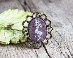 Deer necklace - hand embroidered - silver deer - made by Skrynka - n026 on Etsy, $29.00