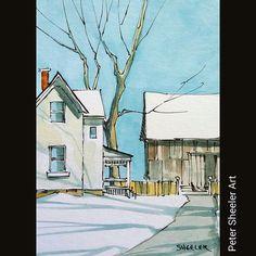 Rural sketch. Winter farm house. #landscape #art #original… | Flickr