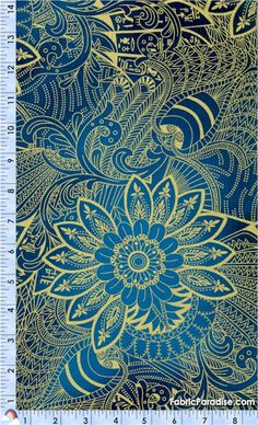 Legacy - Exquisite Gilded Egyptian Motifs on Blue - Egyptian, Elkabee's Fabric Paradise.com, LLC