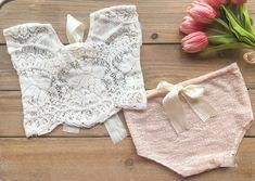 Sitter Girl Prop Outfit - Pale Pink and Boho Lace 2 pc Photo Outfit - Ready to Ship by wrenandwillowdesigns on Etsy