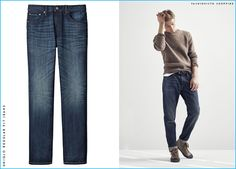 Janis Ancens showcases classic, laid-back style in a pair of UNIQLO's regular fit denim jeans and a crewneck sweater.